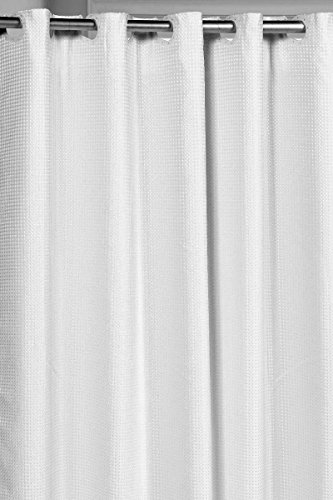 Pre-Hooked Hotel Quality Waffle Weave 75 Inch Extra Fabric Shower Curtain with Snap-In Fabric Liner White (Hookless Shower Curtain Waffle compare prices)