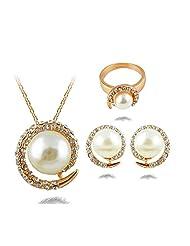 Shining Diva Fashion 18K Gold Plated Austrian Crystal Pendent, Earrings, Finger Ring Set For Women
