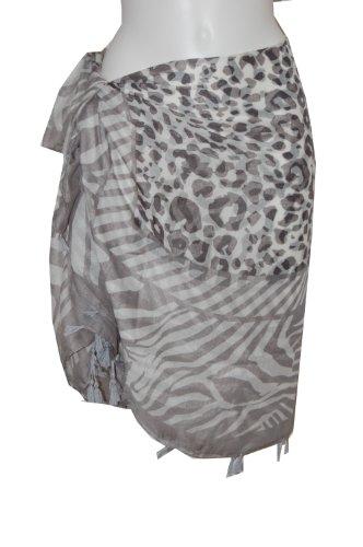 Tamari Grey Animal Print Sarong Beach Cover Up Wrap Dress One Size