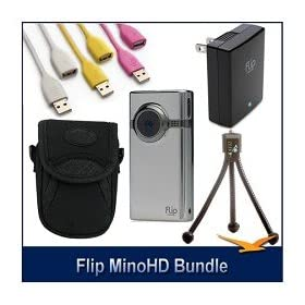 Flip Video MinoHD 8GB Camcorder Case, Cables, Tripod and AC Adapter Bundle