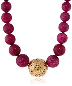 """Devon Leigh Ruby Sponge Coral, Carved Gold Ball Necklace, 22.5"""""""