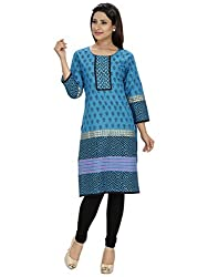 Tanvi Dark Blue Cotton Straight Kurti For Women