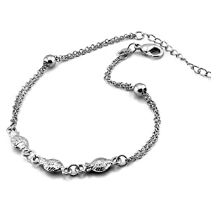 Platinum Plated 925 Sterling Silver 3 Fish Foot Chain Anklet Bangle B084