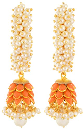 Rajasthani-Traditions-Orange-Pearl-Jhumki-Earrings-Women-Girls