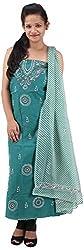 RV's Collection Women's Cotton Unstitched Salwar Suit Piece (Dark Green, RB-14)