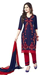 Salwar House Blue & Red Unstitched Cotton Embroidery Dress Material with Dupatta