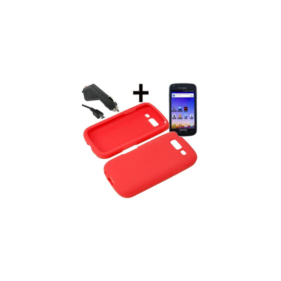 BW Silicone Sleeve Gel Cover Skin Case for T Mobile Samsung Galaxy S Blaze 4G T769+ Car Charger Red