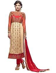 Vbuyz Womens Georgette Chudidar Salwar Suit (Cream & Pink)