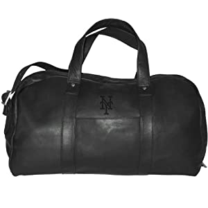 MLB New York Mets Black Leather Corey Duffel Bag by Pangea Brands