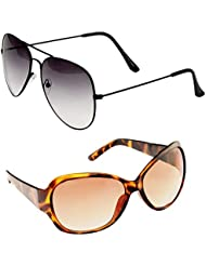 Unisex Uv Protected Combo Pack Of Aviator Sunglasses And Butterfly Sunglasses ( Black Shd Black - Brown Butterfly...