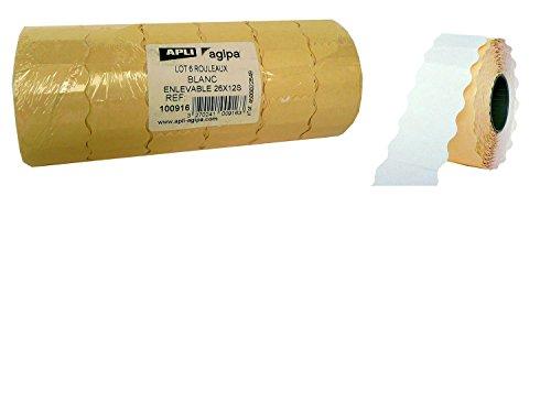 AGIPA Lot 6 rouleaux de 1500 étiquettes sinusoidales adhésif enlevable 26 x 12 mm