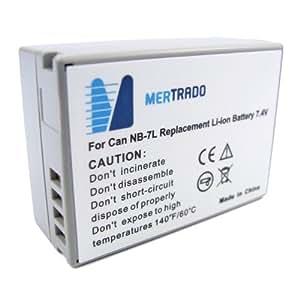 Mertrado - Batterie semblable Canon NB-7L haute qualité pour Canon PowerShot G10 / G11 / G12 / SX30 IS (750 mAh) - avec Info-Chip Update