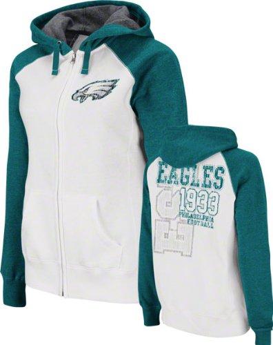 NFL Women's Philadelphia Eagles Sport Princess Long Sleeve Raglan Full-Zip Fleece Hoodie (White/Marine Green Heather, Medium)