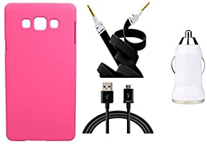 XUWAP Hard Case Cover With Car Charger,Data Cable & Aux Cable Samsung Galaxy On5 - Pink