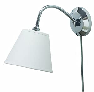 House Of Troy FLX125-CH Flex Collection Wall Sconce Lamp, Chrome with Off-White Linen Hardback Shade