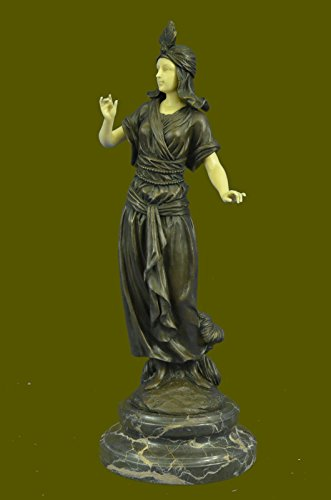 "Handmade European Bronze Sculpture 15""x6""... 10 LBS ...Art Deco And Faux Bone Turkish Princess Brown Marble Base Decor (3XB-XQ-029) statue statues figurine figurines nude décor sculptures c"
