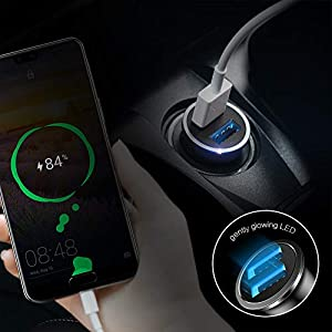 Car Charger, SmartDevil 4.8A Aluminum Alloy Dual USB Ports Car Charger Adapter Mini Fast Car Charging Compatible with iPhone 11,11 Pro,11 Pro Max,Xs Max,XR, 8 7 6, iPad,Galaxy S10 S10e and Moreï¼?Blackï¼?