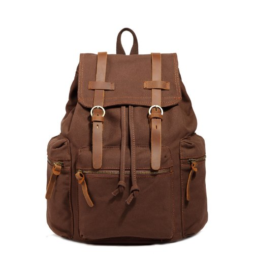 Unisex Vintage Casual Daypack Fashion Pack Canvas Leather Travel Hiking Backpacks Campus School College Bookbag Rucksack Gym Shoulder Bag Portable Carry Case Bag For Sony Canon Nikon Olympus Dslr Ipad Google Nexus Samsung Galaxy Note 10.1 N8000 Microsoft