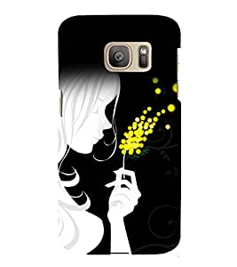 printtech Beautiful Girl Abstract Design Back Case Cover for Samsung Galaxy S7 / Samsung Galaxy S7 Duos with dual-SIM card slots
