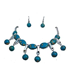 Crystal Turquoise Brown Necklace Earrings Silver Prom Party Fancy Dress Jewellery Set