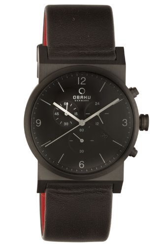 Obaku by Ingersoll gents chronograph black leather strap watch