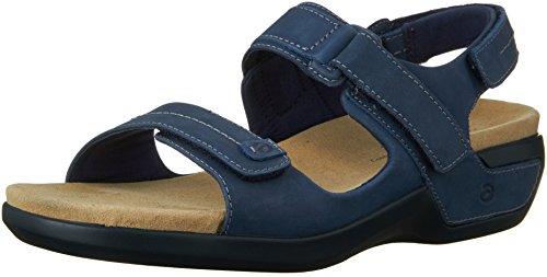 Aravon Women's Katy Wedge Sandal,Blue,12 2E US