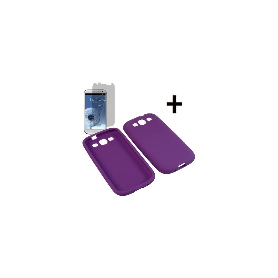 BC Silicone Sleeve Gel Cover Skin Case for AT&T, T Mobile, Sprint, Verizon, U.S. Cellular Samsung Galaxy S III i9300 i747 i535 L710 T999+ Fitted Screen Protector  Purple