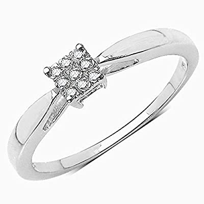 "The Diamond Ring Collection: Beautiful Diamond Solitaire ""Look"" Engagement Ring in Sterling Silver."