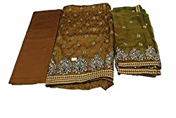 Alankar Textiles Panjabi Suit Piece Brown Color Cotton Dress Material
