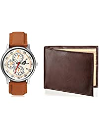 Arum Latest Design In Brown Leather Watch&Brown Wallet For Men