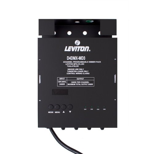 Leviton D4Dmx-Md3 4-Channel Programmable Dimmer Pack Integrating Stand-Alone, 3-Pin Dmx 15A Power Cord