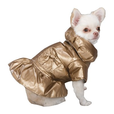 Zack & Zoey Polyester Razzle Dazzle Puffy Dog Coat, XX-Small, Gold