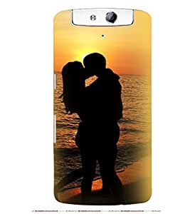 Printvisa Seaside Vector Pic Of A Romantic Couple Back Case Cover for Oppo N1