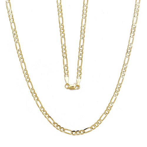 "30"" Figaro Chain Necklace W/ Concave Look - 10K Yellow Gold - 0.13 Inch (3.2Mm)"