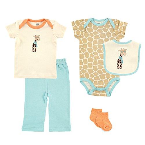 Hudson Baby Unisex-Baby 5 Piece Gift Set, Giraffe, 0-3 Months