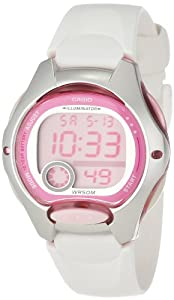 Casio Women's LW200-7AV White Resin Strap and Pink Dial Digital Watch
