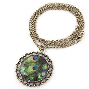 Fashion Charming Jewelry Ancient Retro Peacock Feather Carved Stone Necklace New