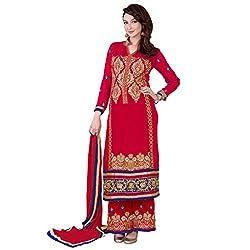 Bhelpuri Women Red Georgette Semi-stitched Salwar Kameez