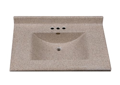 Imperial FW3122CAPSS Center Wave Bowl Bathroom Vanity Top, Cappuccino Matte Finish, 31-Inch Wide by 22-Inch Deep