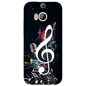 Casotec Music Design 3D Printed Hard Back Case Cover for HTC One M8