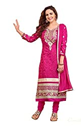Parinaaz fashion Women's Rani cotton unstitched Straight Salwar Suit dress material