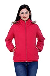 Trufit Full Sleeves Solid Women's Pink Removable Hood Polar Fleece Lining Cotton Jacket