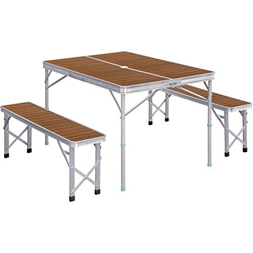 FIELDOOR テーブル・チェアセット 収納式アルミレジャーテーブル ベンチ分離タイプ ゼブラ / 幅110cm 110×80cm