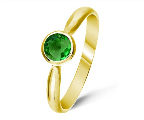 Timeless 9 ct Gold Ladies Solitaire Engagement Ring with Tsavorite 0.25 ct