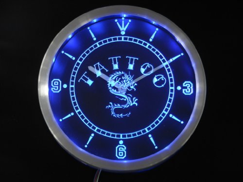 nc0357-b Tattoo Chinese Dragon Ink Bar Beer Neon Sign LED Wall Clock
