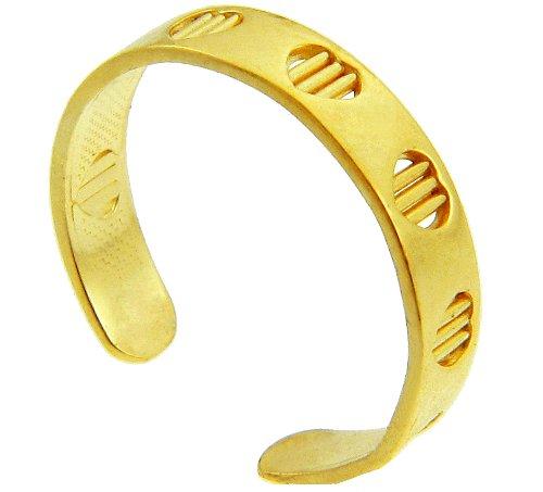 Yellow Gold Heart Bar Toe Ring (14K Gold)