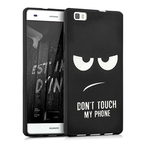 kwmobile CUSTODIA IN TPU silicone per Huawei P8 Lite Design Don't touch my phone nero bianco - Stilosa custodia di design in morbido TPU