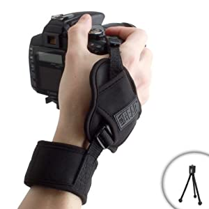 USA Gear DualGRIP Steady Shot Professional DuraNeoprene Wrist Strap for Fujifilm FinePix HS50 , SL1000 , S4200 , S4500 , X100S , X-E1 , SL300 , X20 , S8400W , S8200 & More DSLR Digital Cameras - With Mini Tripod