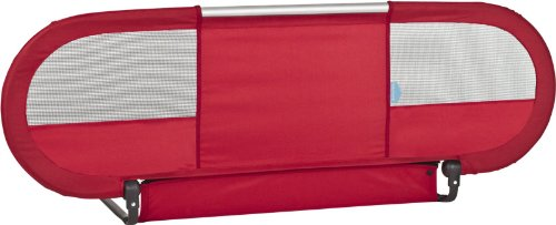 BabyHome-Side-Baby-Bed-Rail-Nursery-Safety-Rail-Mesh-w-Straps-Red