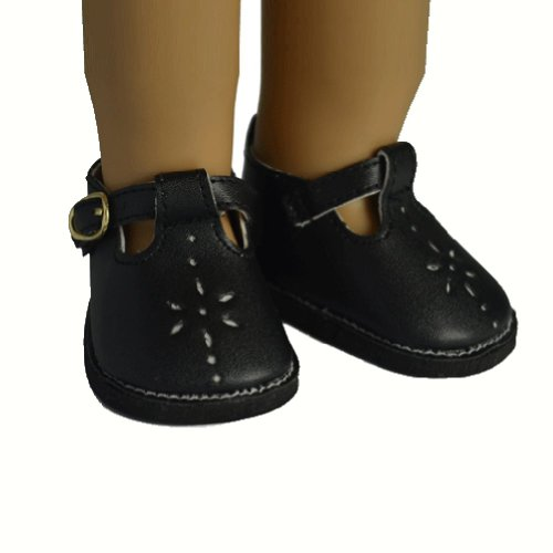 Ebuddy Black Faux Leather Shoes Boots Fits 18 Inch Doll - 1